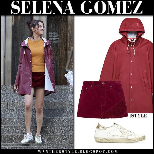 Selena Gomez in red raincoat and red mini skirt filming Woody Allen movie october 3 2017 fashion fall style
