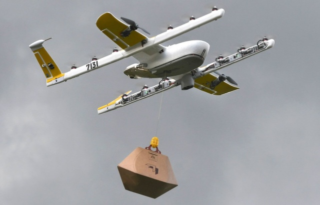 drone delivering books