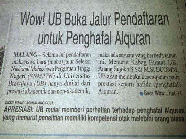 UB akan Membuka Pendaftaran Mahasiswa Baru Khusus Untuk Hafidz (Penghafal) Al-Quran