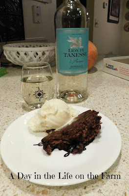 Hot Chocolate and Halva Pudding with wine