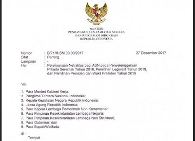 Netralitas ASN Pada Pilkada Serentak Tahun 2018, Sesuai Surat MENPAN-RB