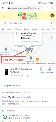 Google search lacak hp hilang