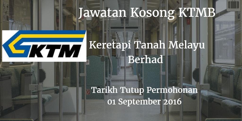 Jawatan Kosong KTMB 01 September 2016