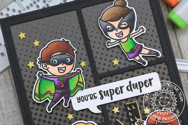 Sunny Studio Stamps: Comic Strip Speech Bubbles Dies Super Duper Cityscape Border Dies Card by Juliana Michaels