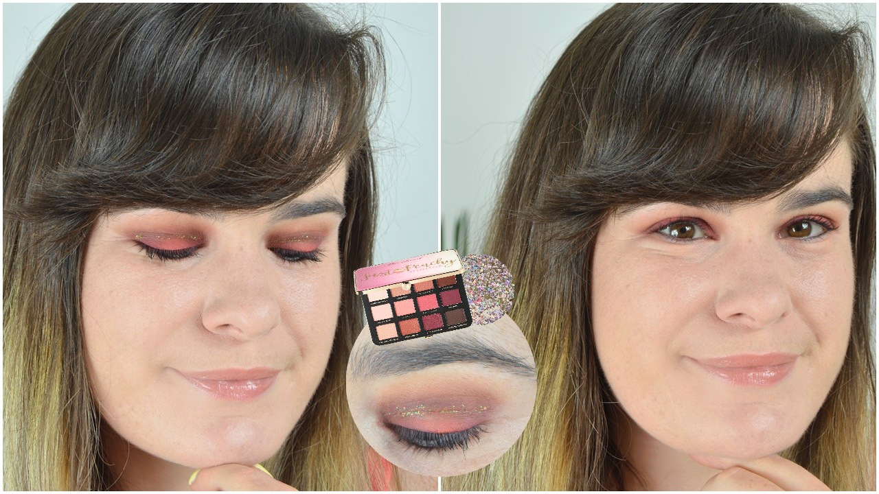 tutoriel maquillage just peachy too faced et liner pailletté kiko