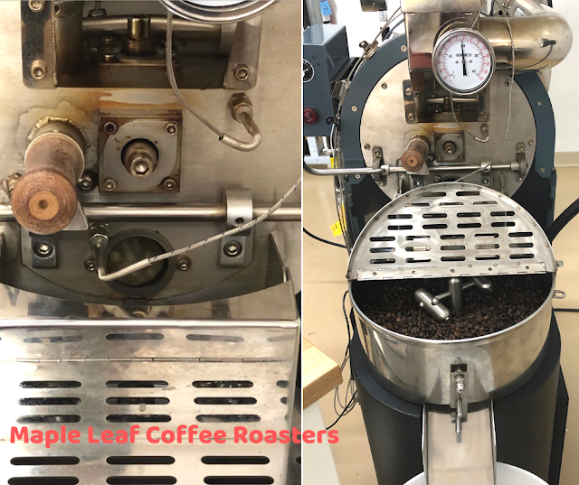 Taking a peek at how the coffee roaster works at Maple Leaf Coffee Roasters