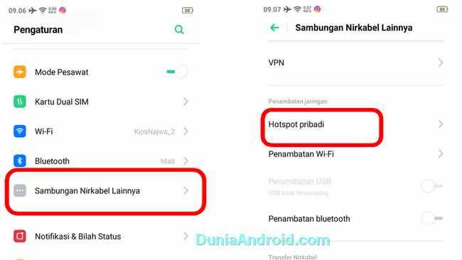 menu hotspot di HP Realme 3, C2, 5, xt, x2 pro