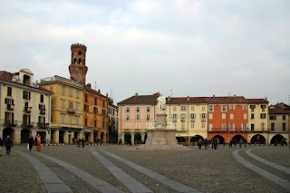 The Piazza Cavour in Vercelli, where Galleani was born