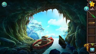 на выходе из пещеры стоит корабль под парусами