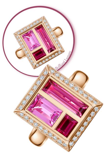 Andrew Geoghegan Chocolate Box Rose rosy rubellites & pink sapphires diamond ring #brilliantluxury