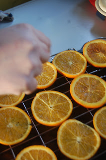 Dried cinnamon oranges, the first stage before drying.