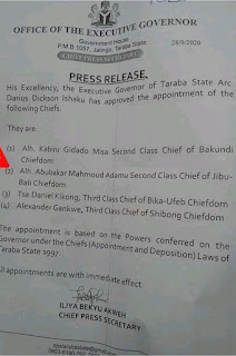 Just In: Gov. Ishaku Approved The Appointment Of Chiefs Of Bakundi, Jibu-Bali, Baki-Ufeb And Shibong Chiefdoms