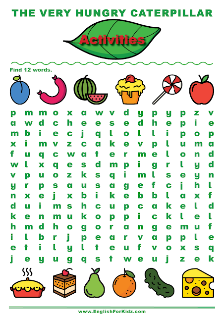 The Very Hungry Caterpillar word search puzzle