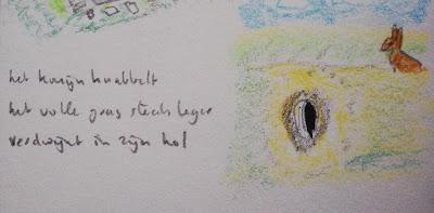 konijnenhok tekening en haiku