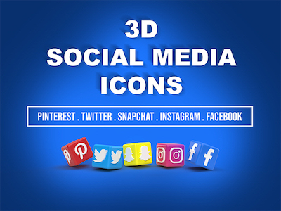 3D Social media icons background