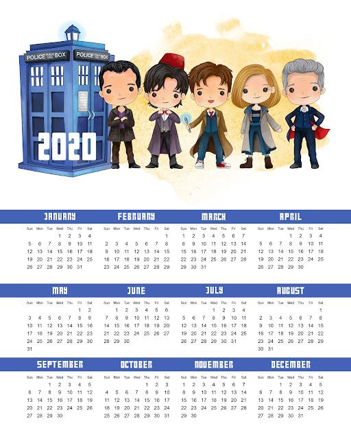 Dr. Who: Free Printable 2020 Calendar.