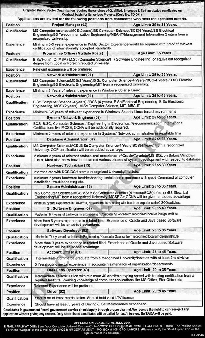 Jobs In Public Sector Organization on Contract Basis In Lahore Pakistan