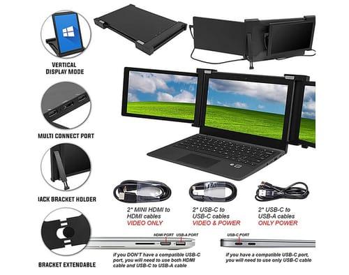 FKA Dual or Three Screen 13.3 1080P IPS Portable Monitor