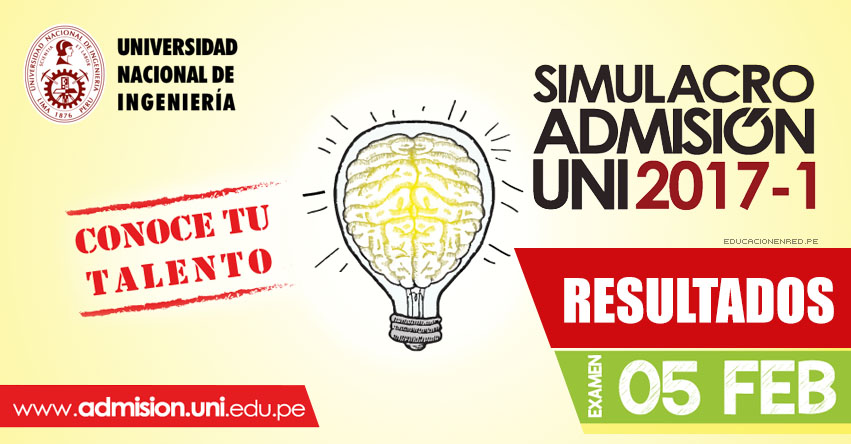 UNI: Resultados Simulacro Admisión 2017-1 (Examen 5 Febrero) Universidad Nacional de Ingeniería - www.uni.edu.pe