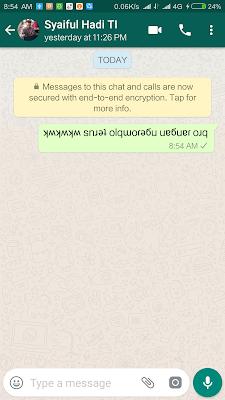 Membuat Tulisan terbalik di WhatsApp itu Mudah