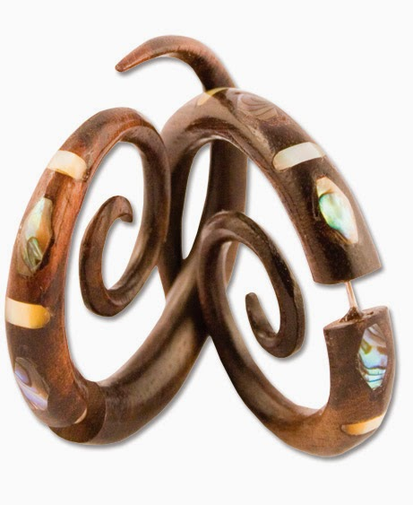 mother+of+swirl+faux gauge - Fake Gauge Earrings - You'd Never Guess