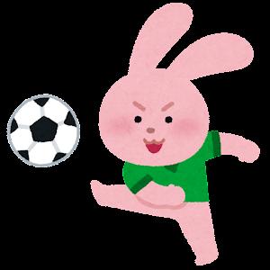 サッカーをやる動物のキャラクター(ウサギ)