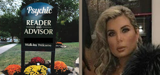 Psychic adviser Gina Marks and the sign outside her home in Bethesda, Md. The photo has been altered to remove a phone number. (Montgomery County State's Attorney's Office)