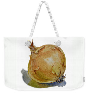 Watercolor painting of onion on bag by the artist Irina Sztukowski