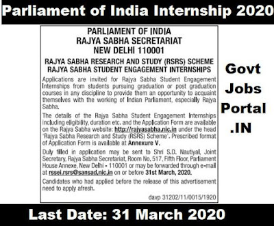 rajya sabha internship scheme 2020