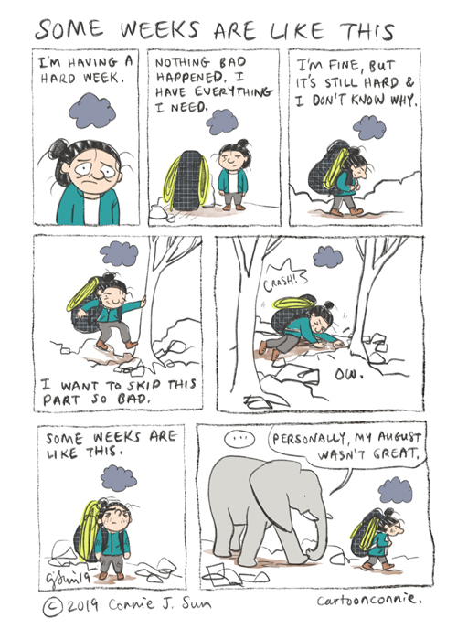 comics, journal comics, illustration, hiking, climbing, depression, connie sun, cartoonconnie