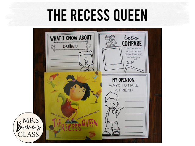The Recess Queen book study companion activities for back to school K-1
