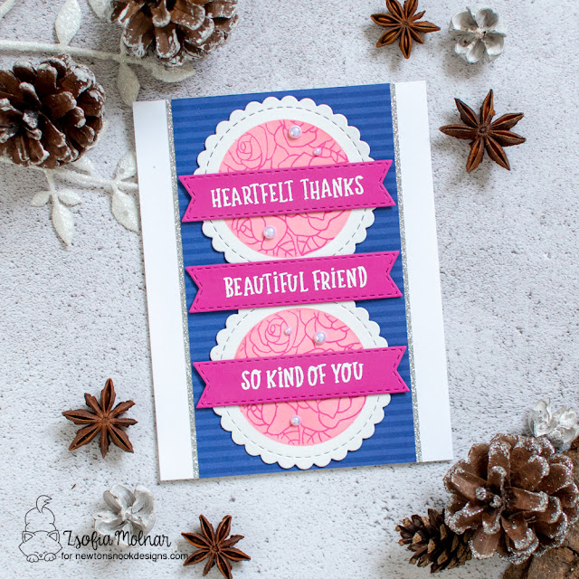Heartfelt Thanks Card by Zsofia Molnar | Heartfelt Roses Stamp Set and Circle Frames and Banner Trio Die Sets by Newton's Nook Designs