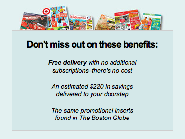 Get Free Coupon Inserts from The Boston Globe