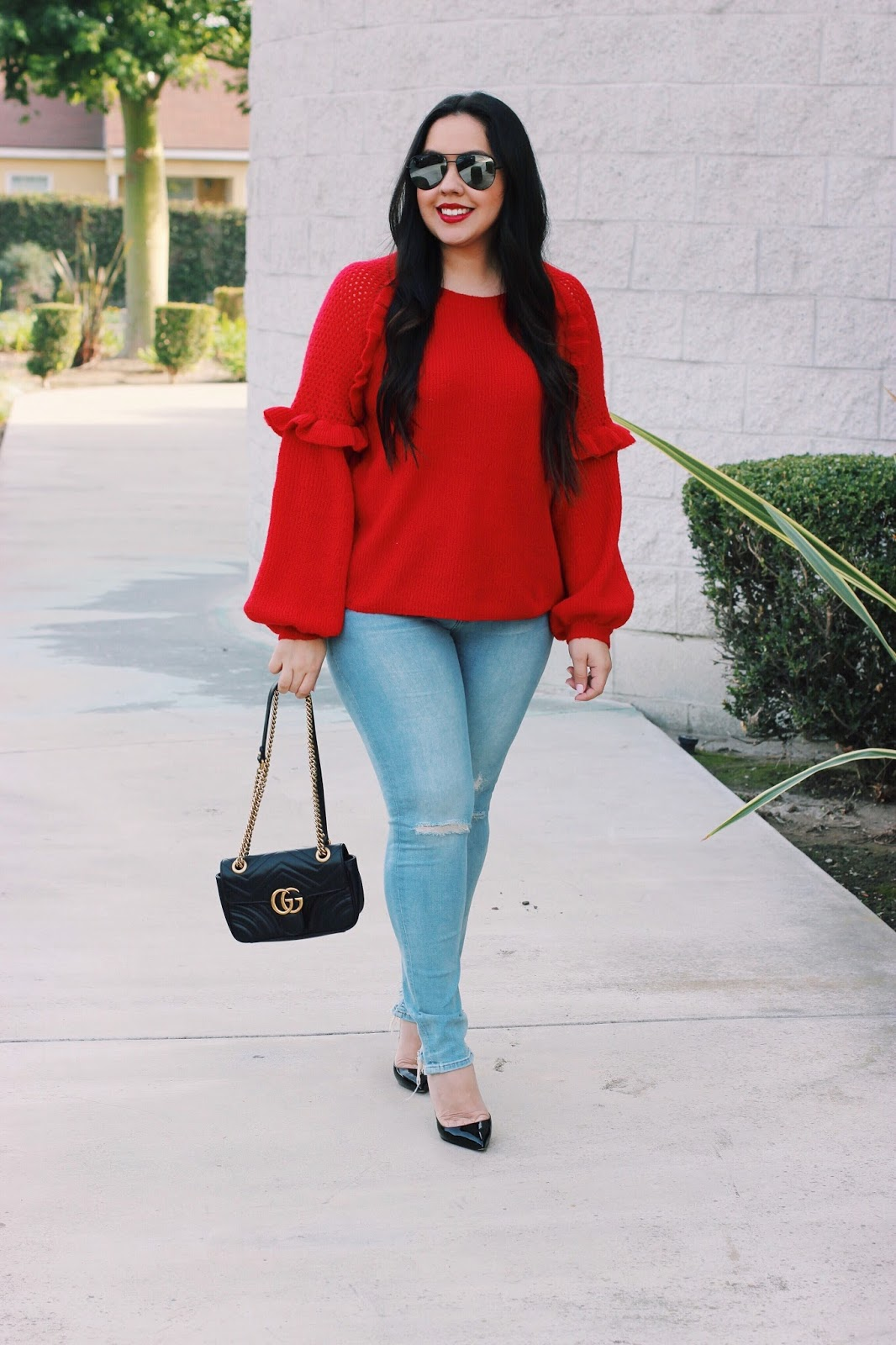 Red Ruffle Sweater