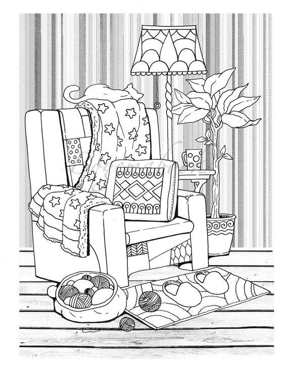 Tranh tô màu ghế sofa đẹp