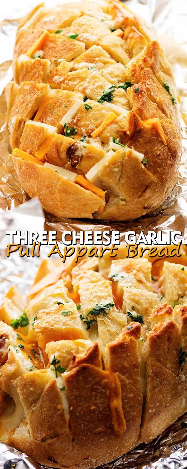 THREE CHEESE GARLIC PULL APART BREAD
