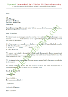 request letter to bank for bill discounting