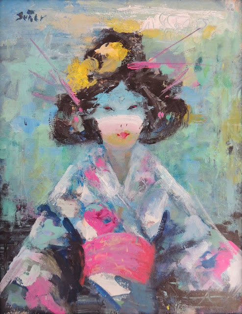 pintura, cuadro, Francesc Suñer obra arte óleo geisha feminina