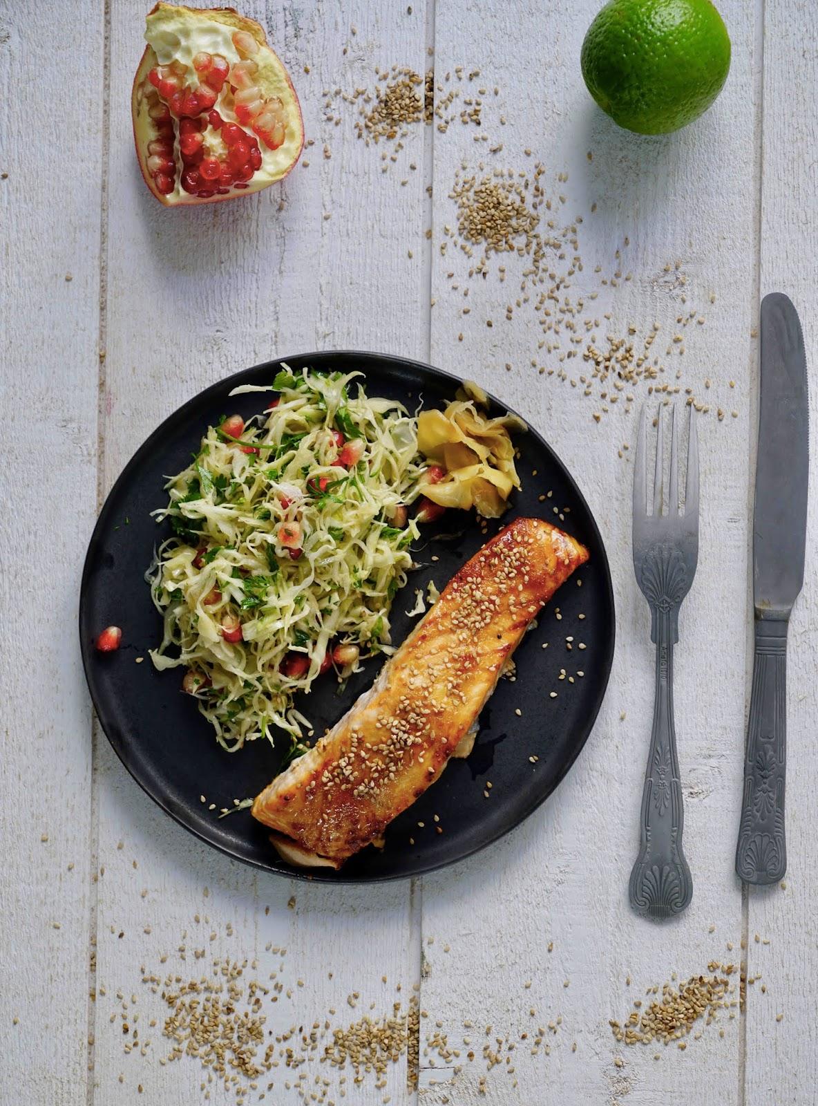saumon de France , saumon cuit au four , chou pointu