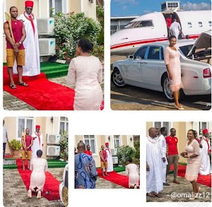 Checkout Beautiful Pictures Of Oba Of Benin Arrives Abuja In His Rolls Royce and Private Jet