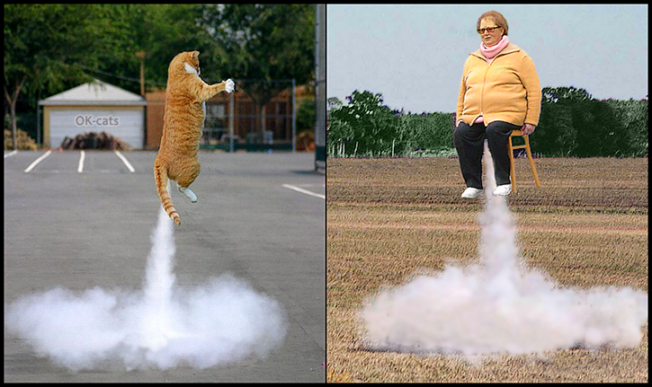 Photoshopped cat picture •  Crazy Contest • Rocket cat vs. Rocket woman. Flying to the Heaven