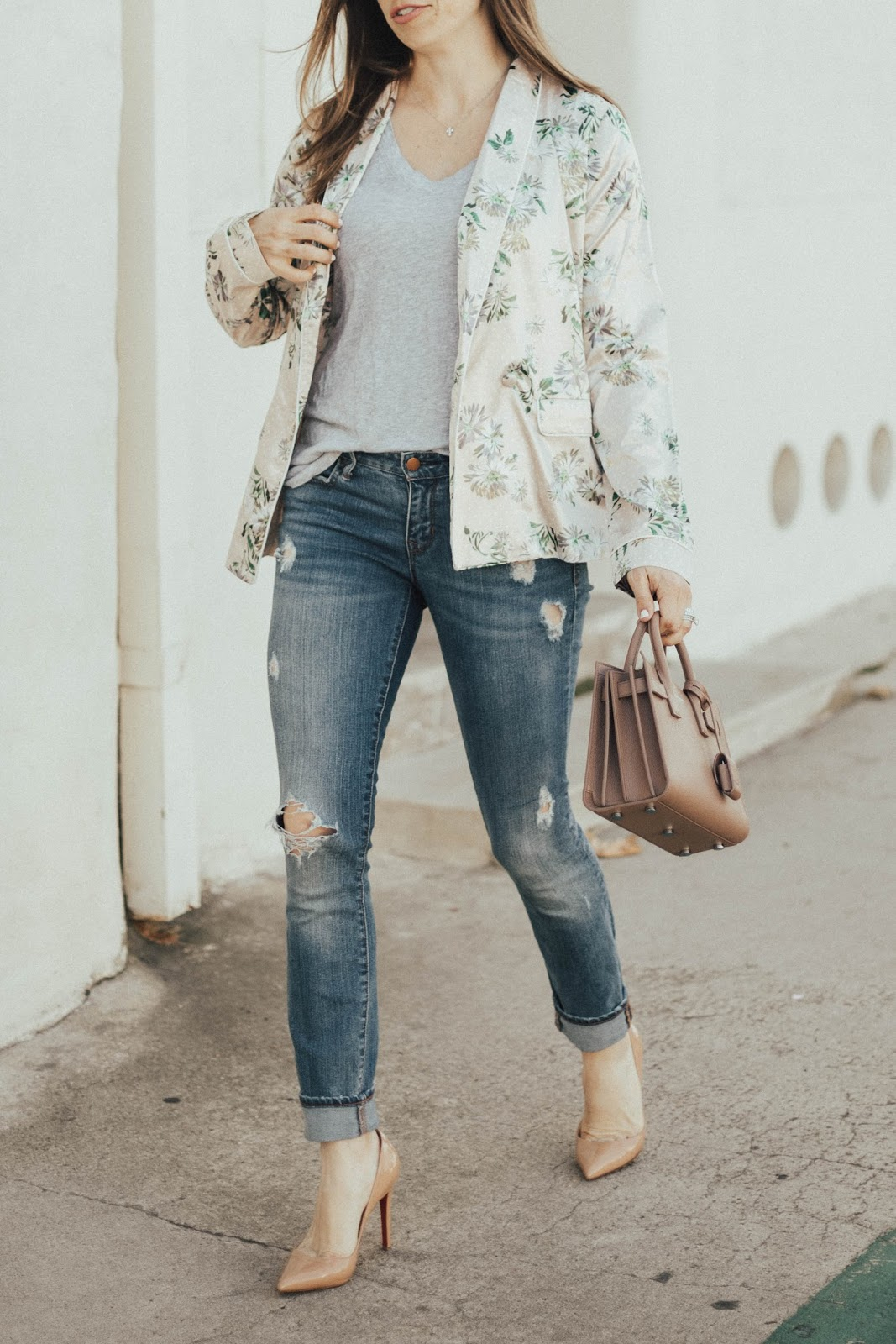 pajama jacket and distressed jeans outfit