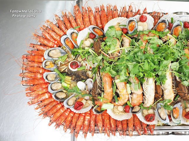 Half Top Shot Of The Jumbo Seafood Platter  (Left Side)