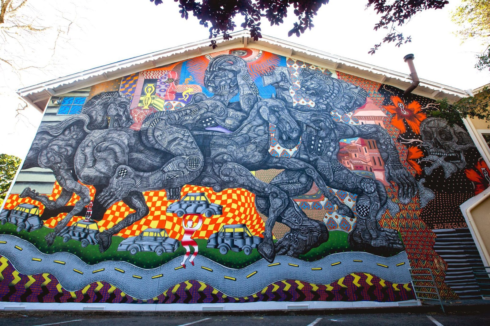 Our friend Zio Ziegler recently spent some time in the city of Ross in California where he worked his magic on a massive new piece.