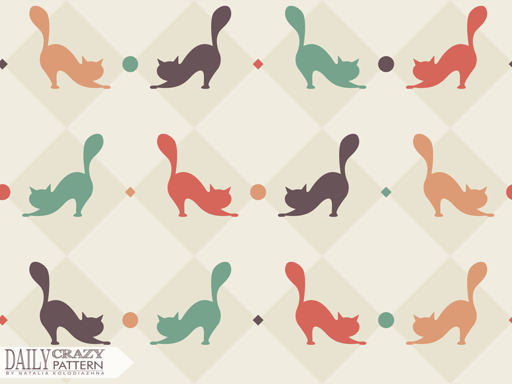 "Nice art print with cats for ""Daily Crazy Pattern"" project"