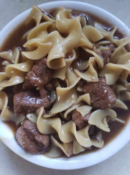 Sirloin Beef tips and noodles