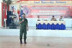 Dandim 1607/ Sumbawa Berikan Materi Bela Negara Kepada Mahasiswa PKKMB UNSA