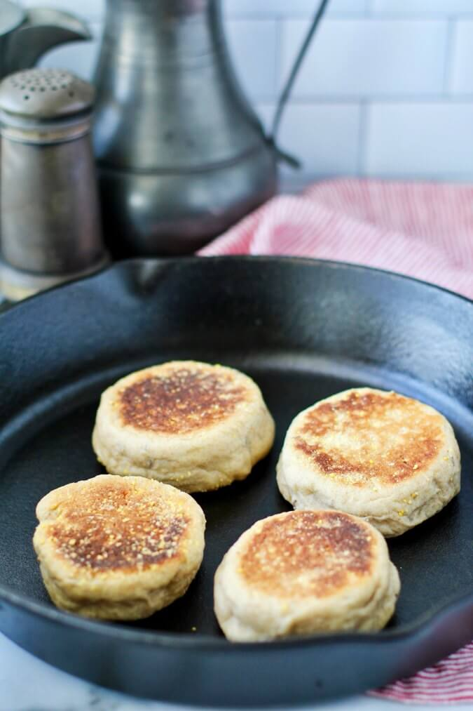 Deli Rye English Muffins in a cast iron pan