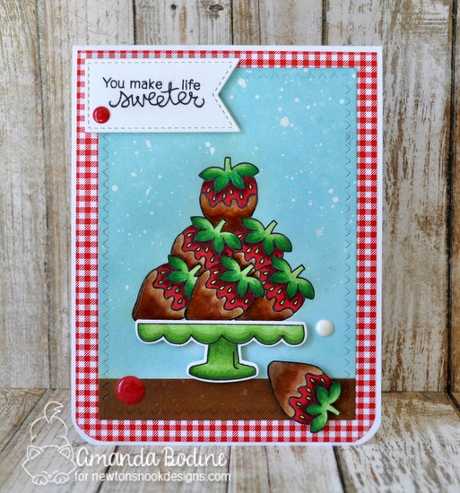 Chocolate covered strawberries card by Amanda Bodine   Love & Chocolate stamp set by Newton's Nook Designs #newtonsnook