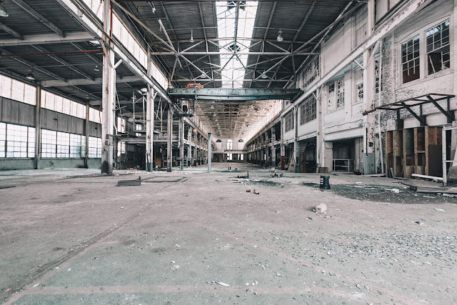 large open abandoned industrial space